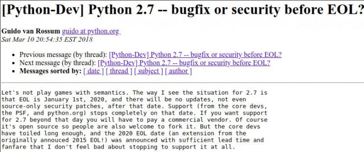 定了!Python 團隊將於 2020 年 1 月 1 日停止支持 Python 2.7